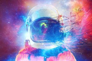 astronaut, Space suit, Abstract, Space, Colorful, Helmet