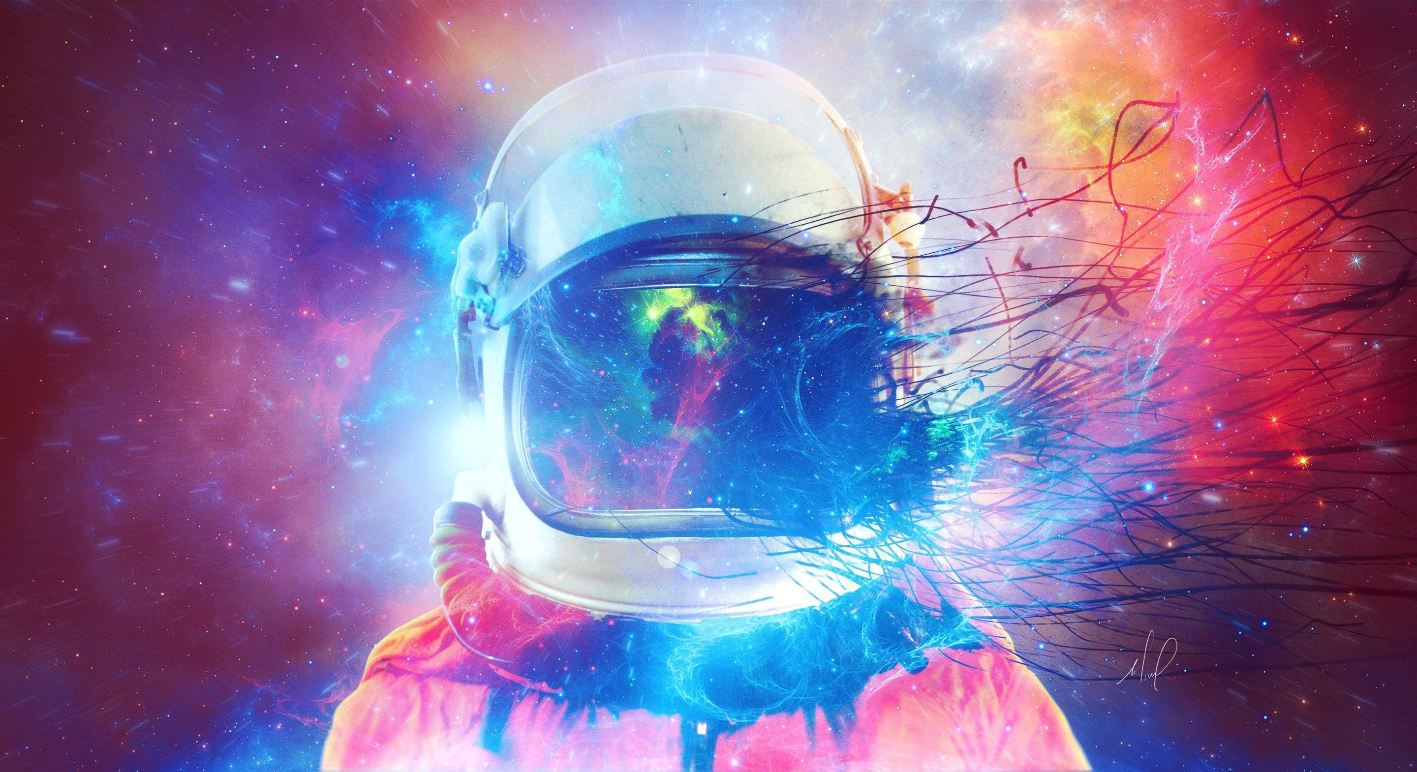 Astronaut space suit abstract space colorful helmet - Abstract space wallpaper ...