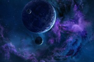 planet, Space, Stars, Satellite, Galaxy, Nebula, Space art