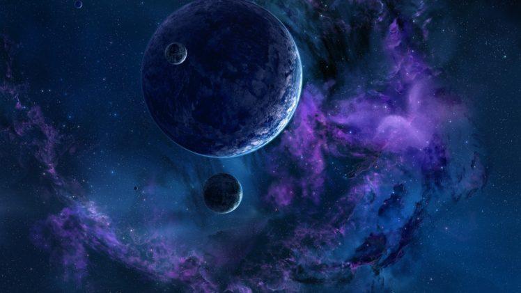 planet, Space, Stars, Satellite, Galaxy, Nebula, Space art HD Wallpaper Desktop Background