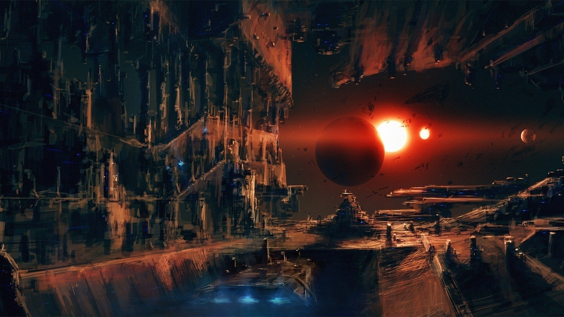 Space space station planet science fiction hd for Immagini full hd 1920x1080