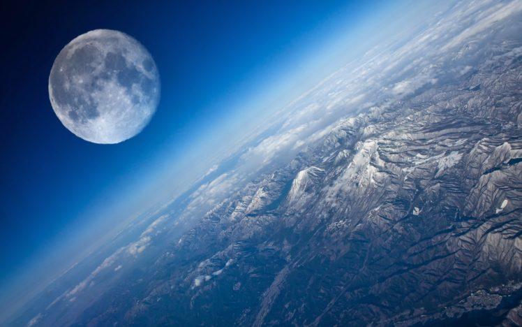 space, Space art, Stars, Planet, Atmosphere, Moon, Mountains HD Wallpaper Desktop Background