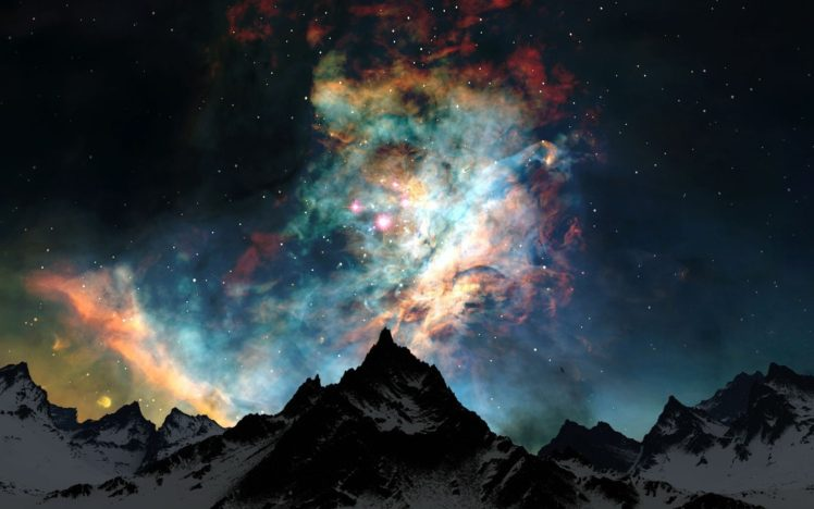 space, Stars, Nebula, Galaxy, Mountains, Snowy peak, Space art, Earth, Atmosphere, Clouds HD Wallpaper Desktop Background