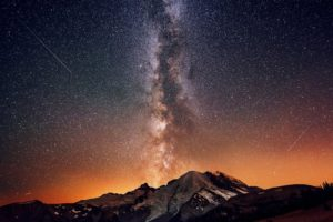 space, Stars, Nebula, Galaxy, Mountains, Snowy peak, Space art, Earth, Atmosphere, Clouds