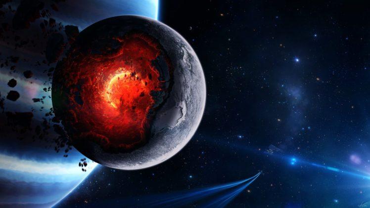 nebula, Galaxy, Space art, Spaceship, Meteors, Texture, Planet, Stars HD Wallpaper Desktop Background