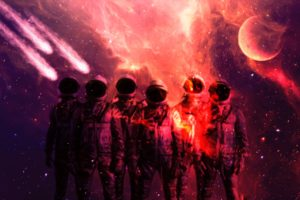 astronaut, Space, Moon, Comet