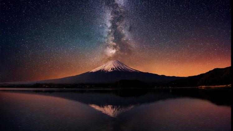 stars, Space, Planet, Galaxy, Mountains, Snowy peak HD Wallpaper Desktop Background