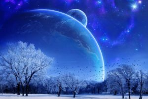 stars, Space, Planet, Galaxy, Snow