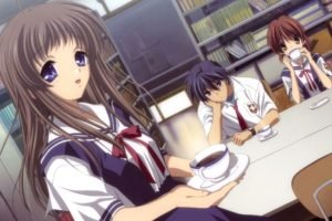 Clannad, Anime girls, Schoolgirls, Furukawa Nagisa, Miyazawa Yukine, Okazaki Tomoya