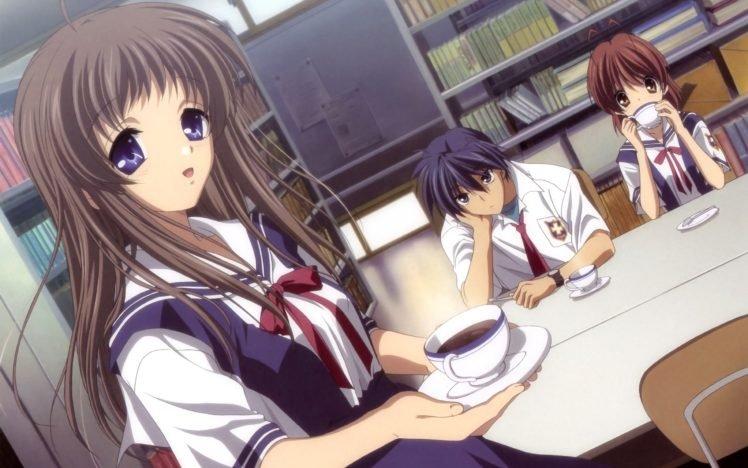 Clannad, Anime girls, Schoolgirls, Furukawa Nagisa, Miyazawa Yukine, Okazaki Tomoya HD Wallpaper Desktop Background