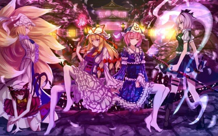 anime, Anime girls, Touhou, Yakumo Yukari, Yukizakura Himeno, Yukizuki Sumino HD Wallpaper Desktop Background