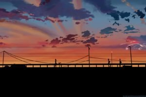 5 Centimeters Per Second, Bridge, Sunset, Power lines, Silhouette, Clouds, Utility pole