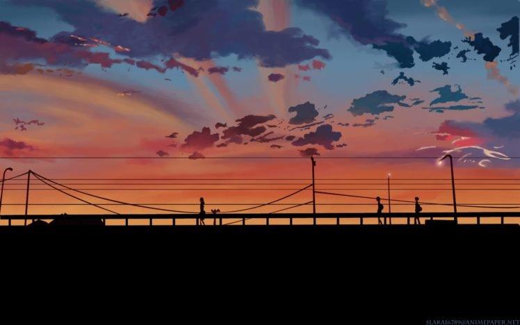 5 Centimeters Per Second, Bridge, Sunset, Power lines, Silhouette, Clouds, Utility pole HD Wallpaper Desktop Background