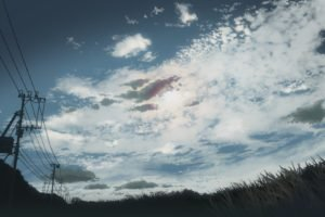 5 Centimeters Per Second, Clouds, Grass, Power lines, Utility pole