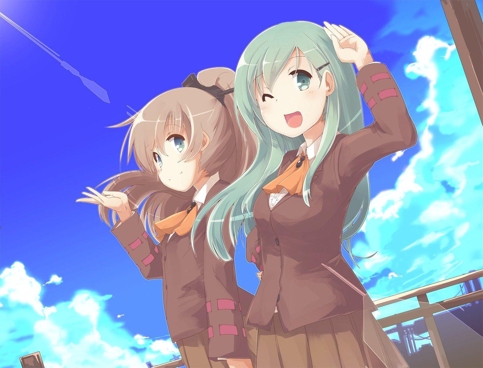 anime, Anime girls, Kantai Collection, School uniform, Kumano (KanColle), Suzuya (KanColle) Wallpaper