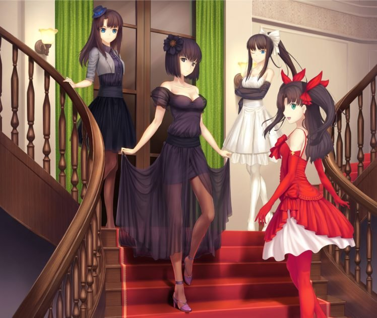 Fate Series, Type Moon, Dress, Tohsaka Rin, Stairs, Anime girls HD Wallpaper Desktop Background