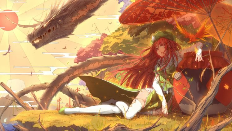 anime girls, Dragon, Touhou, Hong Meiling HD Wallpaper Desktop Background