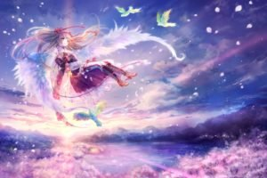 wings, Birds, Anime girls, Anime, Original characters