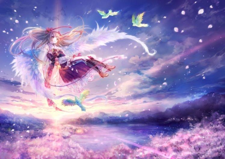 wings, Birds, Anime girls, Anime, Original characters HD Wallpaper Desktop Background