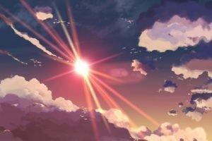 sky, Makoto Shinkai, Clouds, Sun rays, Artwork, 5 Centimeters Per Second, Sun
