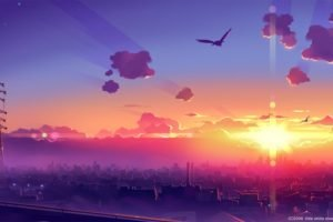 anime, Sky, Skyline, Power lines, Sunlight, Sun rays, Cityscape, Birds, Utility pole