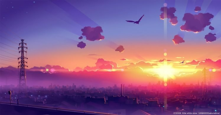 anime, Sky, Skyline, Power lines, Sunlight, Sun rays, Cityscape, Birds, Utility pole HD Wallpaper Desktop Background