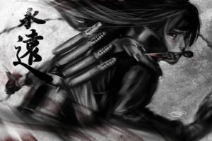 Uchiha Madara, Ninjas, Naruto Shippuuden, Daggers, Anime boys, Red eyes, Artwork, Fan art, Selective coloring, Kanji