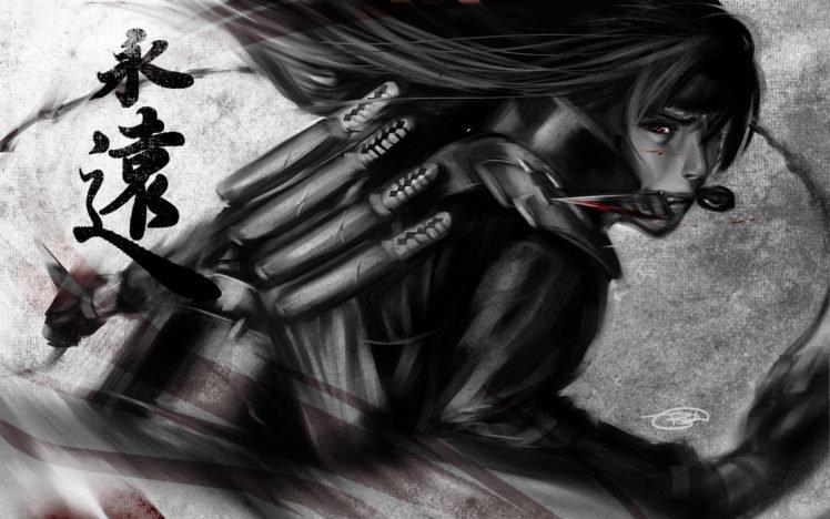 Uchiha Madara, Ninjas, Naruto Shippuuden, Daggers, Anime boys, Red eyes, Artwork, Fan art, Selective coloring, Kanji HD Wallpaper Desktop Background