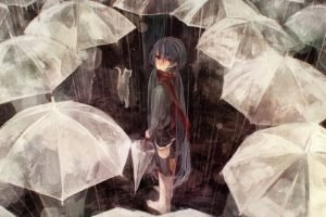 anime girls, Umbrella, Rain, Vocaloid, Hatsune Miku
