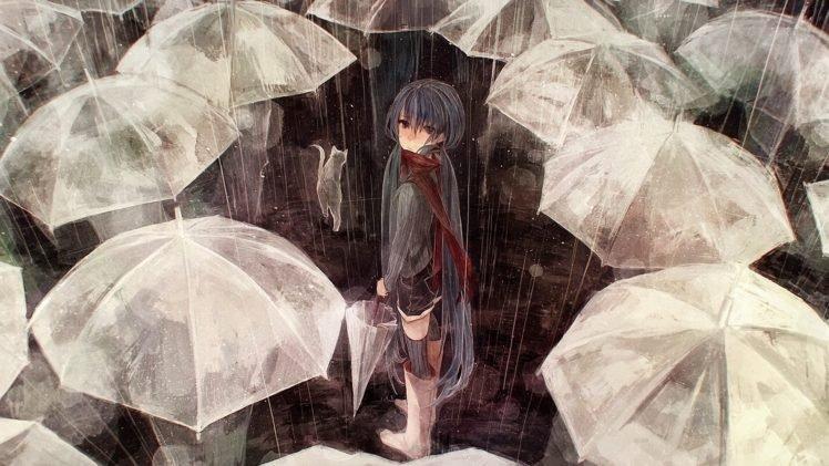anime girls, Umbrella, Rain, Vocaloid, Hatsune Miku HD Wallpaper Desktop Background
