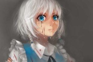 white hair, Touhou, Izayoi Sakuya
