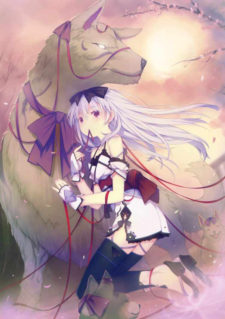 anime girls, Original characters, Dog HD Wallpaper Desktop Background