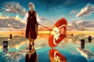 anime girls, Vocaloid, Kagamine Rin, Umbrella, Water, Reflection