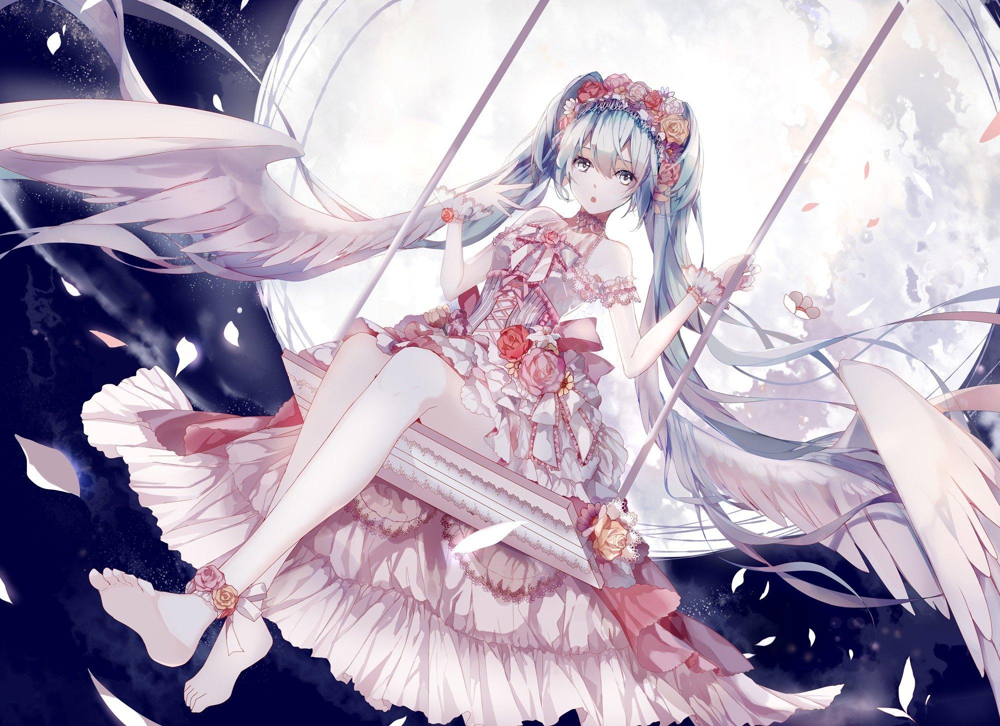anime girls, Vocaloid, Hatsune Miku, Moon HD Wallpapers / Desktop