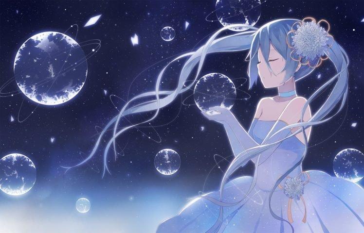 Hatsune Miku, Planet HD Wallpaper Desktop Background