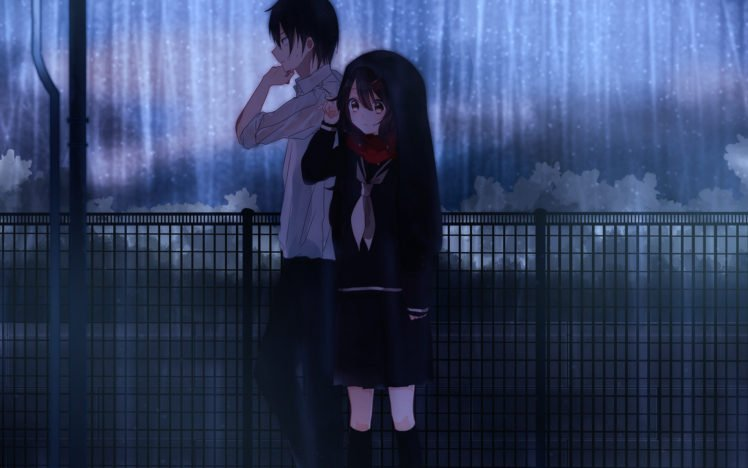 couple, Rain HD Wallpaper Desktop Background