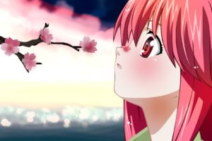 Elfen Lied, Anime, Lucy, Anime girls, Cherry blossom, Pink hair