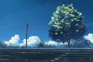 5 Centimeters Per Second, Anime, Trees, Power lines, Utility pole
