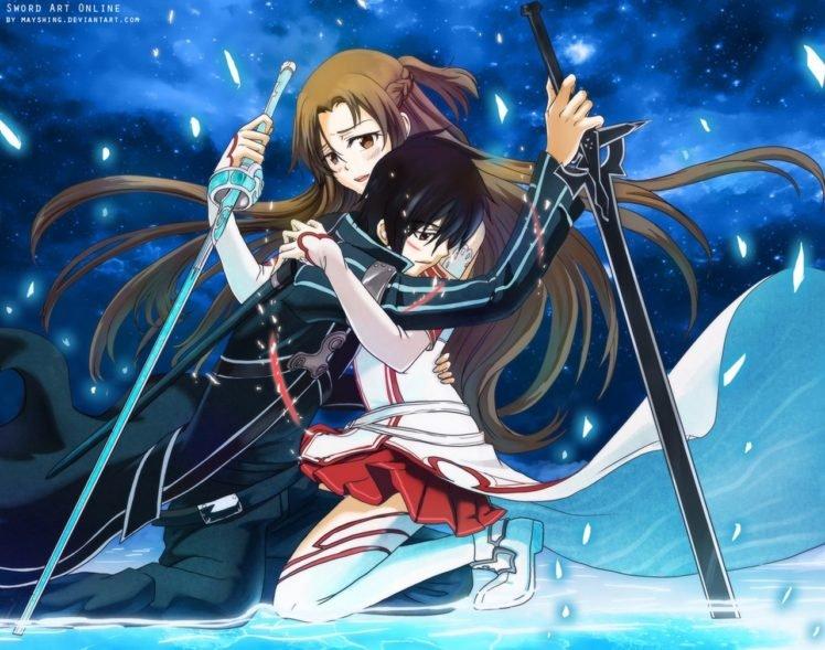 Sword Art Online, Yuuki Asuna, Kirigaya Kazuto, Anime HD Wallpaper Desktop Background