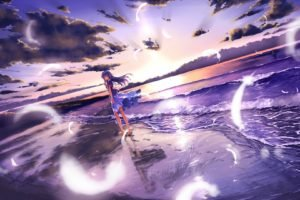anime girls, Original characters, Beach