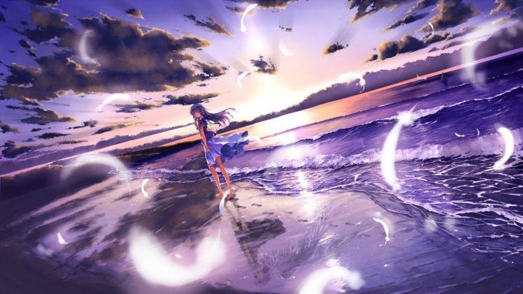 anime girls, Original characters, Beach HD Wallpaper Desktop Background