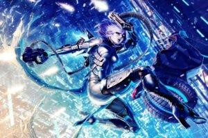 cyborg, Futuristic, Gun, Jumping
