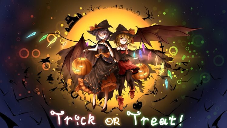 anime, Anime girls, Touhou, Halloween, Pumpkin, Remilia Scarlet, Flandre Scarlet, Wings, Vampires HD Wallpaper Desktop Background