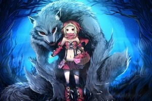 anime girls, Werewolves, Little Red Riding Hood