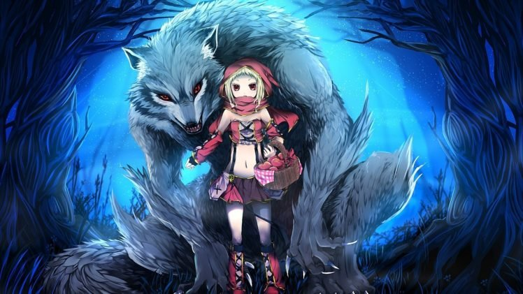 Anime Girls Werewolves Little Red Riding Hood HD Wallpaper Desktop Background