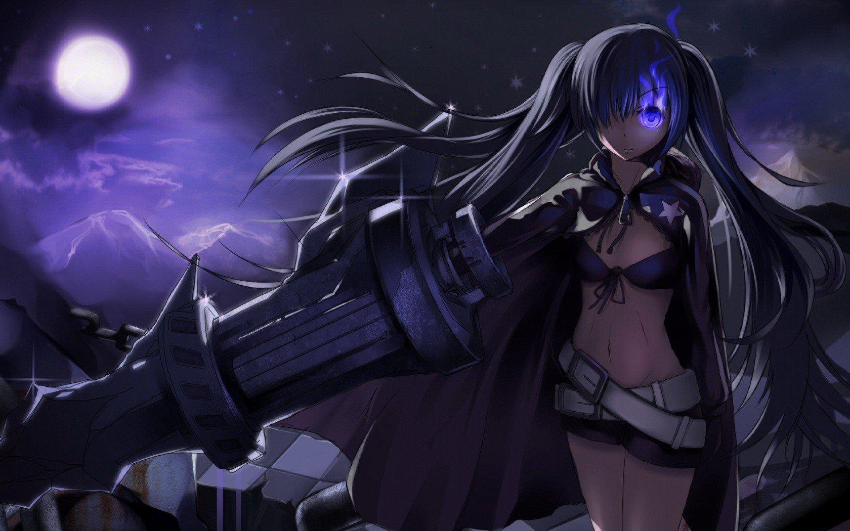 Black rock shooter anime girls anime weapon strength - Anime wallpaper black background ...