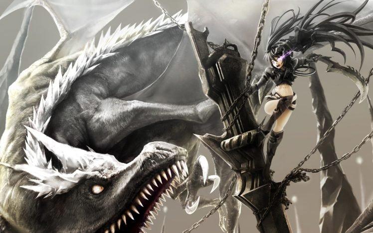 Black Rock Shooter, Anime girls, Anime, Dragon HD Wallpaper Desktop Background