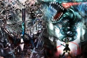 Black Rock Shooter, Anime girls, Anime, Vocaloid, Hatsune Miku, Strength (Black Rock Shooter)