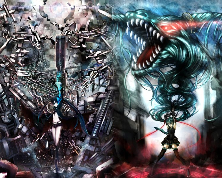 Black Rock Shooter, Anime girls, Anime, Vocaloid, Hatsune Miku, Strength (Black Rock Shooter) HD Wallpaper Desktop Background