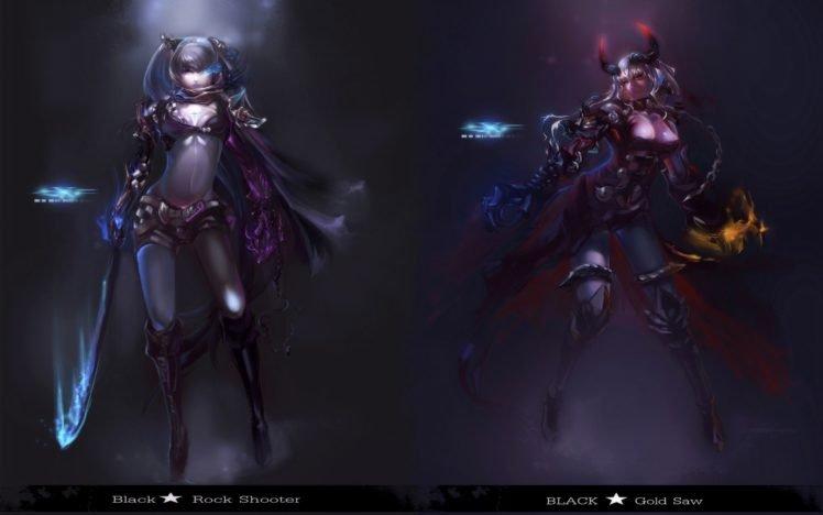 Black Rock Shooter, Anime girls, Anime, Black Gold Saw HD Wallpaper Desktop Background